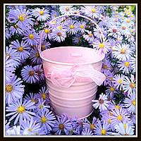 Ведро декоративное цветное (большое), цвет розовый