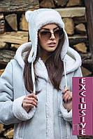 Стильная зимняя женская шапка-ушанка