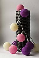 Тайская гирлянда из хлопковых фонариков СиреньSweet Purple  20шт., фото 1