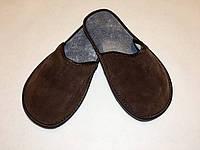 Тапочки кожаные женские коричневые