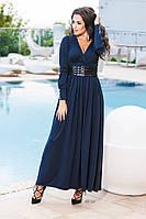 Красивое синее платье в пол с кожаным поясом. Арт-9230/57