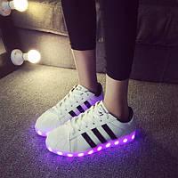 Светящиеся кроссовки ADIDAS SUPERSTAR белые, фото 1