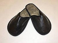 Тапочки кожаные женские черные 40-41