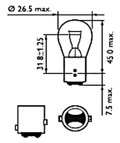 Лампа светодиодная Philips P21/5 RED 12V, 1шт/блистер, фото 3