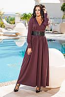 Красивое  платье в пол с кожаным поясом, цвет темно-бежевый. Арт-9230/57