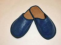 Тапочки кожаные женские бирюзовые 36-37