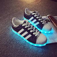 Светящиеся кроссовки ADIDAS SUPERSTAR Черные, фото 1