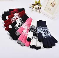 Перчатки для сенсорных экранов Touch Gloves Snowflake