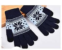 Перчатки для сенсорных экранов Touch Gloves Snowflake dark blue (синий)