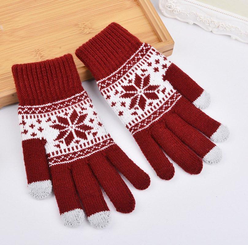 Перчатки для сенсорных экранов Touch Gloves Snowflake red (красные)