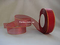 "Блестящая лента ""парча"", цвет темно-красный (ширина 2.5см) 1 рулон 25 ярдов"