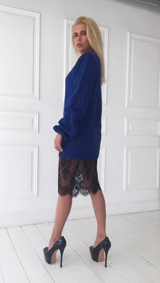 3ac0f497e3a Женское вязаное платье с французским кружевом  продажа