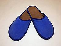 Тапочки  кожаные женские индиго