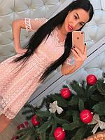 """Новогодняя коллекция!!! Нежное, женское платье с пышной юбкой """"Котон, кружево и жемчуг"""" РАЗНЫЕ ЦВЕТА"""
