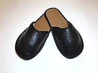 Тапочки кожаные женские чёрные