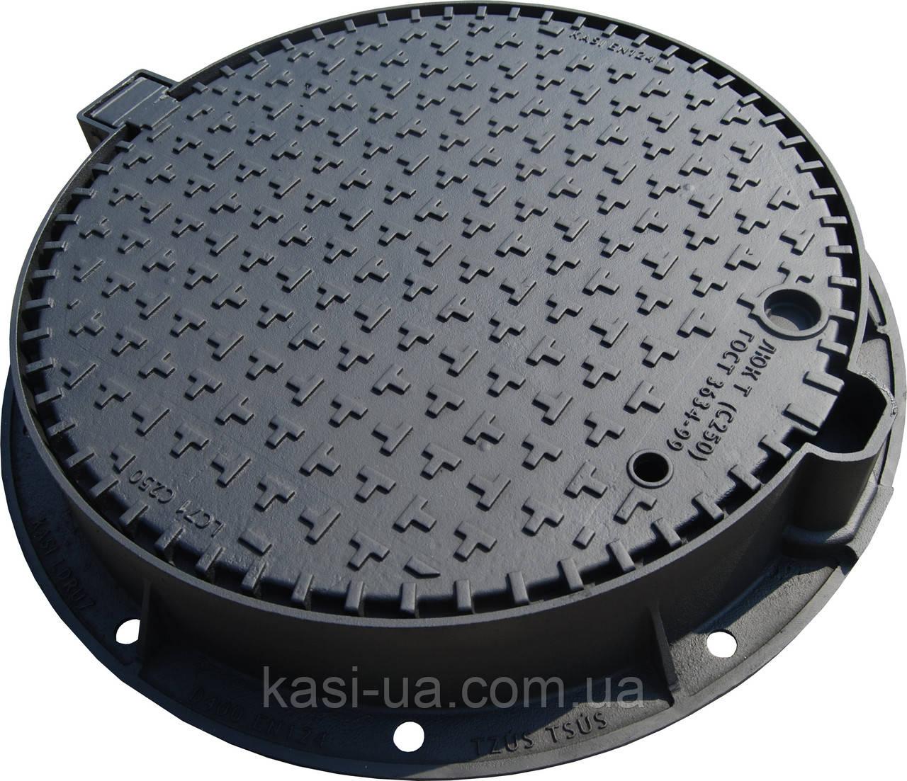 Люк чугунный канализационный тяжелый KASI тип Т (С250) KСU71P (Чехия)