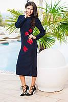 Синее  ангоровое платье с красными цветами, батал. Арт-9236/57