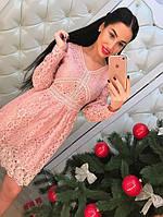 """Новогодняя коллекция!!! Красивое, женское платье в романтическом стиле """"Котон + кружево, с длинными рукавами"""""""