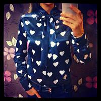 Атласная женская рубашка Сердечки
