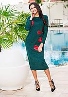 Зеленое  ангоровое платье с красными цветами, батал. Арт-9236/57