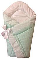Теплый конверт Одеяло для девочек и мальчиков весна осень 90х90см мятный зеленый мелкий горошек бант