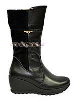 Ботинки женские кожаные демисезонные на устойчивой платформе, фото 1