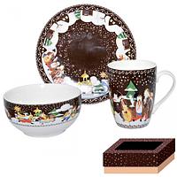 Набор для завтрака 3 пр (тарелка,чашка ,пиала) Наши традиции/Рождественская ночь SNT 1597