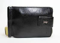 Кожаный кошелек-скрепка Braun Buffel черного цвета