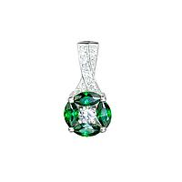 """Серебряный подвес """"Вальс"""" с камнями зеленого цвета"""