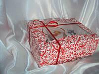 Коробка для капкейков на 6яч. с Окошком, с Красным узором