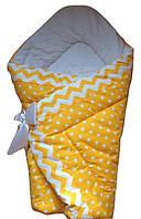 Теплый конверт Одеяло на выписку зима 90х90см  желтый