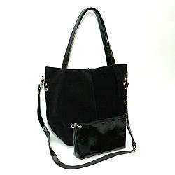 Женская кожаная сумка 04 черная замша/наплак 010401-0501-01