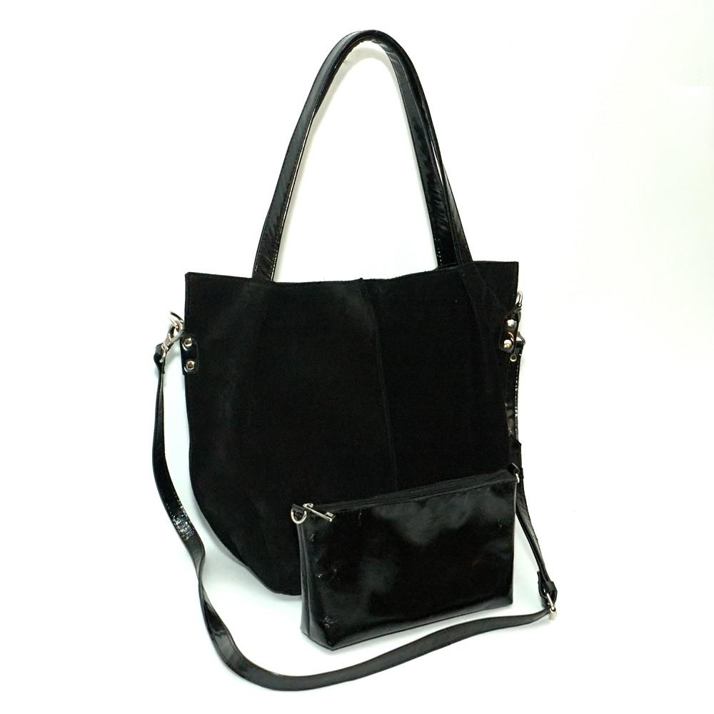 61944ffb9d8b Женская кожаная сумка. Мод. 04 черная замша/наплак - купить по ...