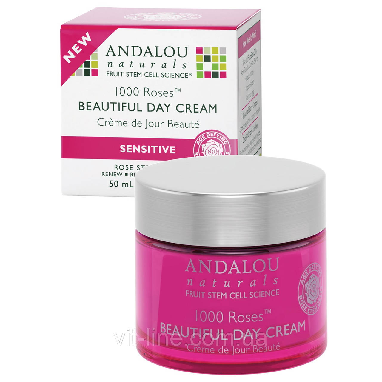 Andalou Naturals, Дневной крем для чувствительной кожи, 1000 роз, (50 мл)