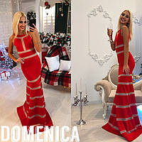 Красное вечернее платье со вставками сетки
