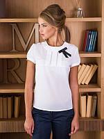 Белая блуза из креп-шифона с короткими рукавами