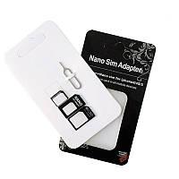 Переходники для сим карты (адаптер Nano Sim + Micro Sim + Mini Sim) + скрепка