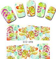 """Наклейка на ногти, наклейка для ногтей, ногтевой дизайн """"цветы"""" 10 шт набор"""