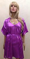 Атласный однотонный Халат и ночная рубашка, фото 1