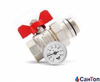 Шаровой прямой кран-американка Tiemme с термометром ручка-бабочка 1(красная)