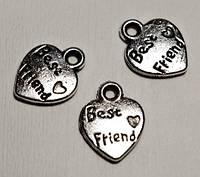 Подвеска Сердце Best Friend, Металл, Цвет: Античное Серебро, Размер: 12х9х1мм, Отверстие 2 мм (20 шт) 24_7_41