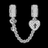 """""""Ключик и замочек"""" соединительная цепочка с силиконовым фиксатором на браслет серебро 925 Soufeel"""