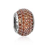 Зодиакальный камень оранжевый подвеска - шарм круглая с камнями на браслет серебро 925 Soufeel