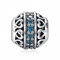 """Зодиакальный камень голубой """"Март"""" подвеска - шарм на браслет серебро 925 Soufeel"""