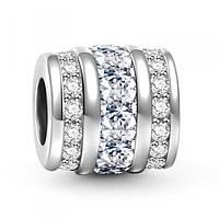 """""""Апрель"""" Зодиакальный камень белый подвеска - шарм  на браслет серебро 925 Soufeel"""