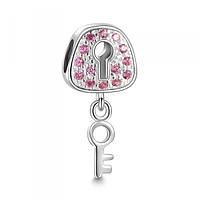 """""""Розовый замочек"""" подвеска - шарм на браслет серебро 925 Soufeel"""