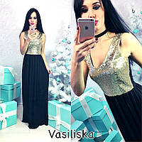 Платье коктейльное макси с пайетками кристалл разные цвета SMV933