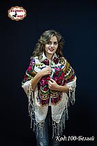 Біла українська хустка Квітучий сад 110см, фото 2