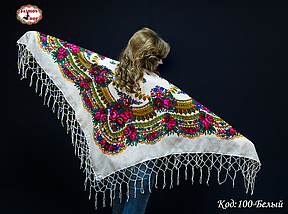 Біла українська хустка Квітучий сад 110см, фото 3