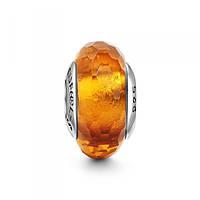 """""""Янтарный лёд"""" Муранское стекло подвеска - шарм на браслет серебро 925 Soufeel"""